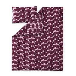 Lasten pussilakanasetti Finlayson Elefantti 120x160 + 40x60 cm viininpunainen/roosa