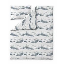 Lasten trikoopussilakanasetti Finlayson Dyynimuumi 120x160 + 40x60 cm valkoinen/siniharmaa