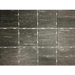 Lattialaatta Bien Alpstone Black himmeä verkolla 100x100 mm