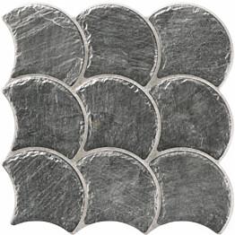 Lattialaatta LPC Piedra Simpukka Antrasiitti 30,7x30,7 cm strukturoitu matta musta