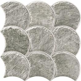 Lattialaatta LPC Piedra Simpukka Grafiitti 30,7x30,7 cm strukturoitu matta harmaa