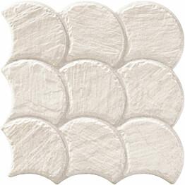 Lattialaatta LPC Piedra Simpukka Norsunluu 30,7x30,7 cm strukturoitu matta valkoinen