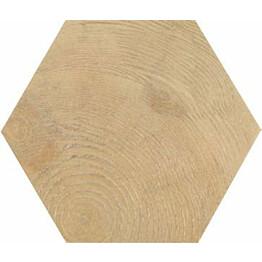 Lattialaatta Pukkila Hexawood Natural himmeä struktuuri 200x175 mm