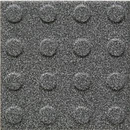 Lattialaatta Pukkila Natura Speckled Black-White himmeä struktuuri pyörönasta 96x96 mm