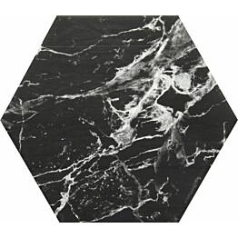 Lattialaatta Kymppi-Lattiat Marmore hex Black 14x16cm