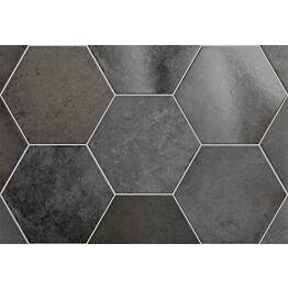 Lattialaatta Pukkila Hexagon Heritage Carbon himmea silea 200x175mm
