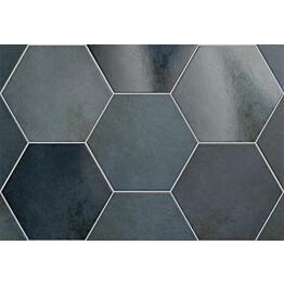 Lattialaatta Pukkila Hexagon Heritage Indigo himmea silea 200x175mm