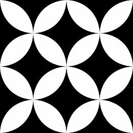Lattialaatta Pukkila Retromix Black & White Circle Negative Medium himmea silea 147x147mm
