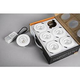 LED-alasvalosarja Hide-a-lite Comfort G3 Tilt 6-Pack 3000K valkoinen