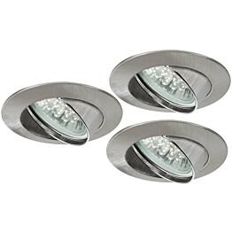 LED-alasvalosetti Premium Line 3x1W Ø 83 mm 3 kpl harjattu teräs
