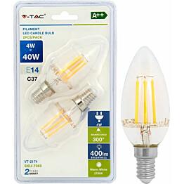 LED-filamenttilamppu V-TAC 4 W E14 2700 K 2 kpl