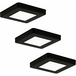 LED-kalustevalaisinsetti Limente LED-Leno 19 80x80x12 mm 3x4.2 W musta
