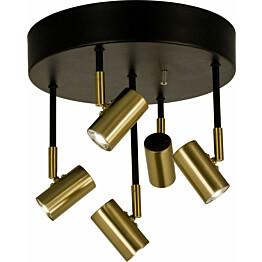 LED-kattospotti Scan Lamps Gusto 5-osainen pyöreä himmennettävä musta/mattamessinki