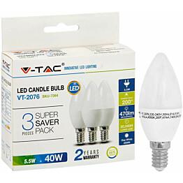 LED-kynttilälamppu V-TAC 55 W E14 4000 K 3 kpl