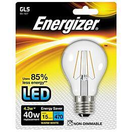 LED-lamppu Energizer Filament E27 4,3 W kirkas
