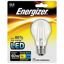 LED-lamppu Energizer Filament E27 6,2 W kirkas