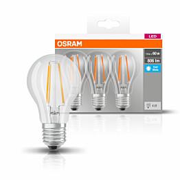 LED-lamppu Osram BASE CLASSIC A FIL 60, 6,5 W/840, E27, 3 kpl/pak