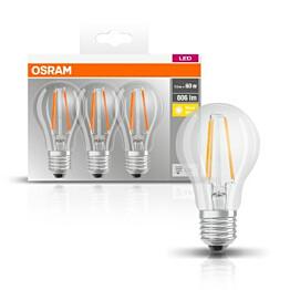 LED-lamppu Osram BASE CLASSIC A FIL 60, 7 W/827, E27, 3 kpl/pak
