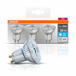 LED-lamppu Osram BASE PAR16 50, 3,6 W/840, GU10, 36° valokeila, 3 kpl/pak