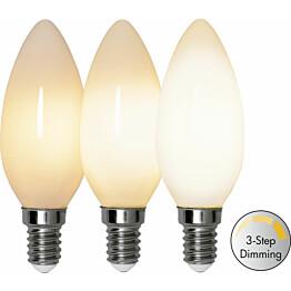LED-lamppu Star Trading Illumination LED 3-step click 375-83, Ø35x98mm, E14, opaali, 4W, 2700K, 38/190/380lm