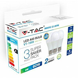 LED-lamppu V-TAC A60 Vt-1900 E27 10W 2700K Ø 60mm valkoinen 3 kpl/pkt