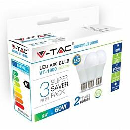 LED-lamppu V-TAC A60 Vt-1900 E27 10W 4000K Ø 60mm valkoinen 3 kpl/pkt