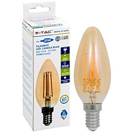 LED-polttimo V-TAC 4W E14 2200 K, 350 lm, kynttilämalli, meripihka