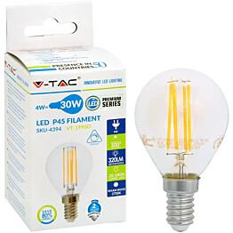 LED-polttimo V-TAC 4W E14 2700 K, 400 lm, P45 filamentti himmennettävä