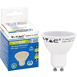 LED-polttimo V-TAC 7W GU10 3000 K, 500 lm, himmennettävä
