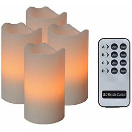 LED-pöytäkynttilä Star Trading Advent 10 cm luonnonvalkoinen 4 kpl + kaukosäädin