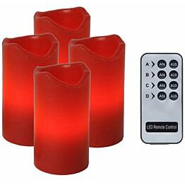 LED-pöytäkynttilä Star Trading Advent 10 cm punainen 4 kpl + kaukosäädin