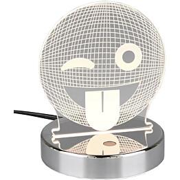 LED-pöytävalaisin Trio Smiley, Ø120x155mm, kromi