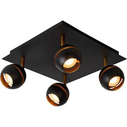 LED-spottivalaisin Lucide Binari, 4x5W, musta