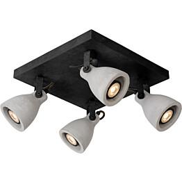 LED-spottivalaisin Lucide Concri-LED, GU10, 4x5W, musta