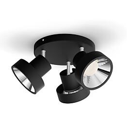 LED-spottivalaisin Philips Bukko plate/spiral musta 3x4.3W SELV