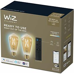 LED-älyvalaistuspakkaus WiZ ST64 Tunable White, Wi-Fi, 6.7W, 2 kpl älylamppu (E27) + kaukosäädin