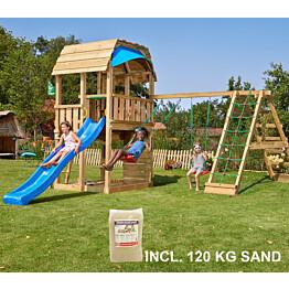 Leikkikeskus Jungle Gym Barn ja Climb Module X'tra sis. 120 kg hiekkaa ja sinisen liukumäen
