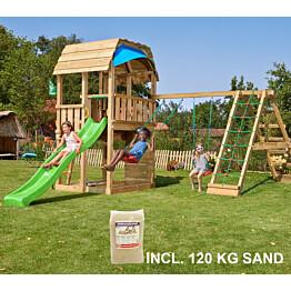 Leikkikeskus Jungle Gym Barn ja Climb Module X'tra sis. 120 kg hiekkaa ja vihreän liukumäen