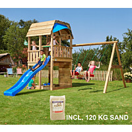 Leikkikeskus Jungle Gym Barn ja Swing Module X'tra sis. 120 kg hiekkaa ja sinisen liukumäen