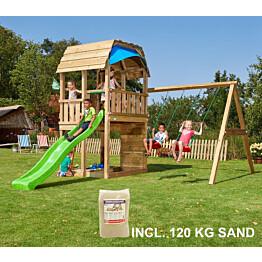 Leikkikeskus Jungle Gym Barn ja Swing Module X'tra sis. 120 kg hiekkaa ja vihreän liukumäen
