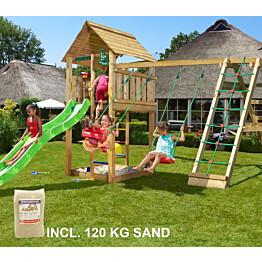 Leikkikeskus Jungle Gym Cabin ja Climb Module X'tra sis. 120 kg hiekkaa ja vihreän liukumäen