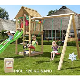 Leikkikeskus Jungle Gym Cabin ja Swing Module X'tra sis. 120 kg hiekkaa ja vihreän liukumäen