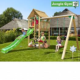 Leikkikeskus Jungle Gym Cabin sis. keinumoduuli ja liukumäki