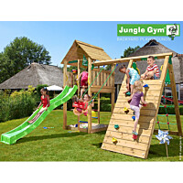 Leikkikeskus Jungle Gym Cabin sis. kiipeilymoduuli ja liukumäki