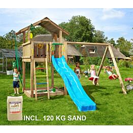 Leikkikeskus Jungle Gym Chalet ja Swing Module X'tra sis. 120 kg hiekkaa ja sinisen liukumäen