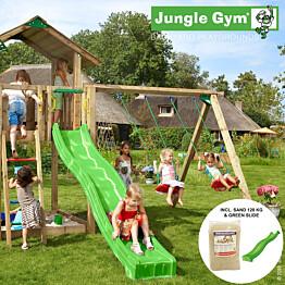 Leikkikeskus Jungle Gym Chalet sis. keinumoduuli, 120 kg hiekkaa ja vihreä liukumäki