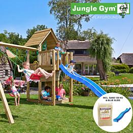 Leikkikeskus Jungle Gym Cubby sis. keinumoduuli, 120 kg hiekkaa ja sininen liukumäki