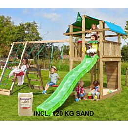 Leikkikeskus Jungle Gym Fort ja Climb Module X'tra sis. 120 kg hiekkaa ja vihreän liukumäen