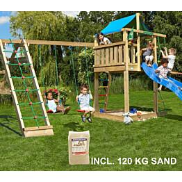 Leikkikeskus Jungle Gym Lodge ja Climb Module X'tra sis. 120 kg hiekkaa ja sinisen liukumäen