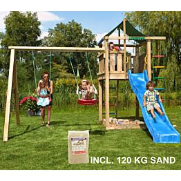 Leikkikeskus Jungle Gym Lodge ja Swing Module X'tra sis. 120 kg hiekkaa ja sinisen liukumäen